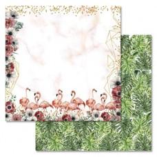Бумага для скрапбукинга Роскошный фламинго - Тропики 30,5 х 30,5