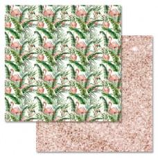 Бумага для скрапбукинга Роскошный фламинго - Затерянный рай 30,5 х 30,5