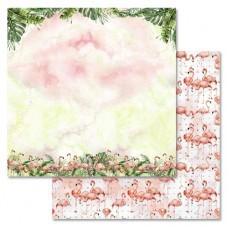 Бумага для скрапбукинга Роскошный фламинго - Рассвет 30,5 х 30,5