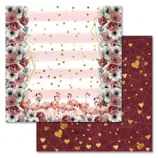 Бумага для скрапбукинга Роскошный фламинго - Переплетения любви 30,5 х 30,5