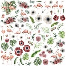 Бумага для скрапбукинга Роскошный фламинго - Картинки 30,5 х 30,5