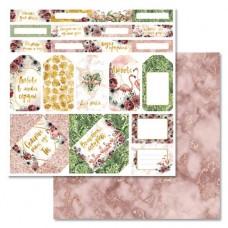 Бумага для скрапбукинга Роскошный фламинго - Теги и конверты 30,5 х 30,5