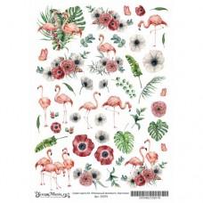 Лист для вырезания Роскошный фламинго - Картинки