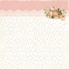 Бумага для скрапбукинга Лесное чудо. Персиковое конфетти 30,5 х 30,5