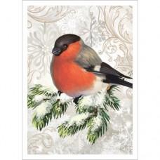 Тканевая карточка Новогодний лес. Снегирь