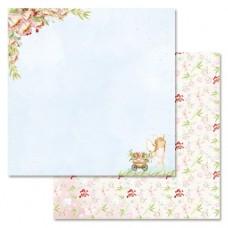 Бумага для скрапбукинга Клубничное детство. Цветы счастья 30,5 х 30,5