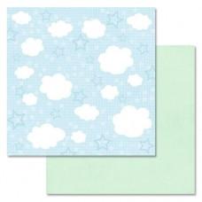 Бумага для скрапбукинга Веселый паровозик. Игры с облаками 30,5 х 30,5