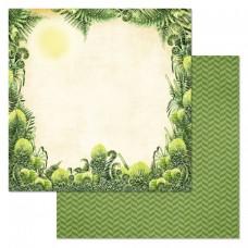 Бумага для скрапбукинга Эра динозавров. Взгляд из чащи 30,5 х 30,5