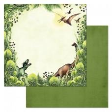 Бумага для скрапбукинга Эра динозавров. Попробуй догони 30,5 х 30,5