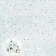 Бумага для скрапбукинга Этника новогодняя. Снегопад  30,5 х 30,5