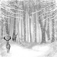 Бумага для скрапбукинга Сканди Новый Год. Серебряный лес 30,5 х 30,5