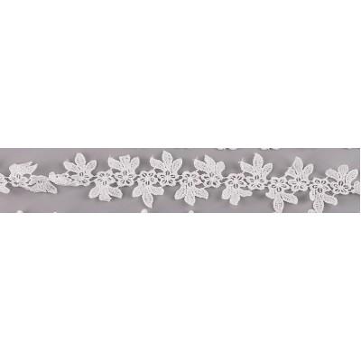 Кружево, Белые цветочки и листья 45 см