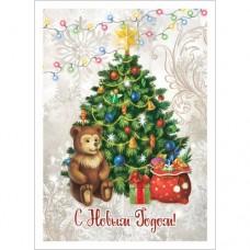 Тканевая карточка Новогодний лес. Ёлка