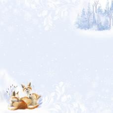 Бумага для скрапбукинга Снежная клюква. Поймай снежинкку 30,5 х 30,5