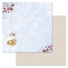 Бумага для скрапбукинга Снежная клюква. Новогодний шар 30,5 х 30,5