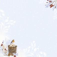 Бумага для скрапбукинга Снежная клюква. Корзинка 30,5 х 30,5