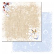Бумага для скрапбукинга Снежная клюква. Холща 30,5 х 30,5