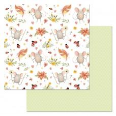 Бумага для скрапбукинга Варенье из одуванчиков. Божьи коровки 30,5 х 30,5 см