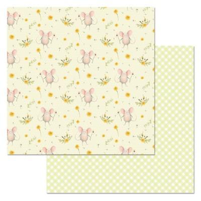 Бумага для скрапбукинга Варенье из одуванчиков. Мышки 30,5 х 30,5 см