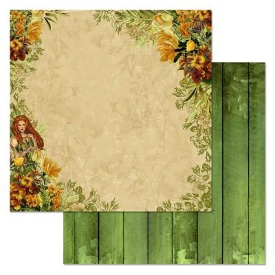 Бумага для скрапбукинга Ворожея. Среди цветов 30,5 х 30,5 см
