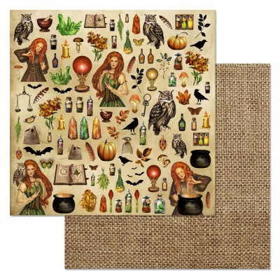 Бумага для скрапбукинга Ворожея. Детали 30,5 х 30,5 см