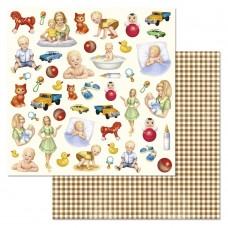 Бумага для скрапбукинга Шалунишка. Картинки 30,5 х 30,5 см