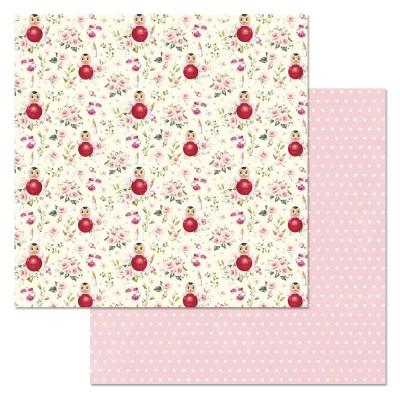 Бумага для скрапбукинга Кудряшка. Неваляшки 30,5 х 30,5 см
