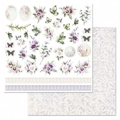 Бумага для скрапбукинга Цветочная вуаль. Цветы и бордюры 30,5х30,5 см