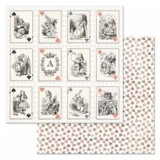 Бумага для скрапбукинга Алиса в сказке. Игра вообращения 30,5х30,5 см