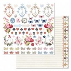 Бумага для скрапбукинга Алиса в сказке. Картинки 30,5х30,5 см