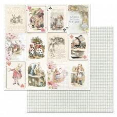 Бумага для скрапбукинга Алиса в сказке. Карточки 30,5х30,5 см