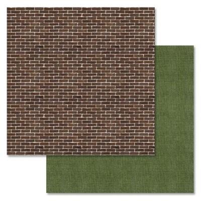 Бумага для скрапбукинга Дембельский альбом — Кирпичная стена 30,5 Х 30,5