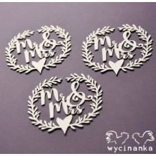 Чипборд MR&MRS - wianki z napisem Mr & Mrs