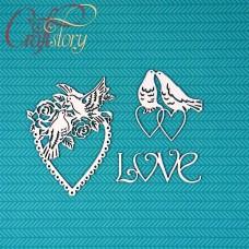 Чипборд Сердечки с голубями