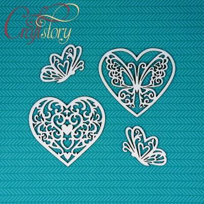 Чипборд Сердечки с бабочками