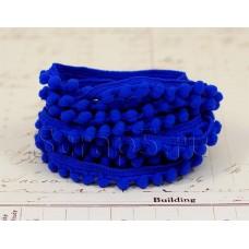 Тесьма с помпонами, синяя, 2 м