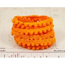 Тесьма с помпонами, оранжевая, 2 м