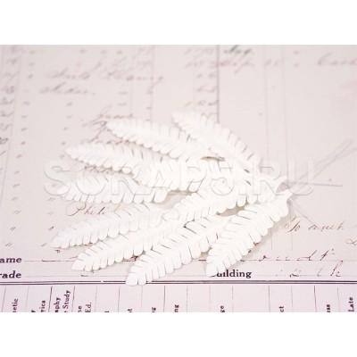 Листья папоротника, белые (10 шт)