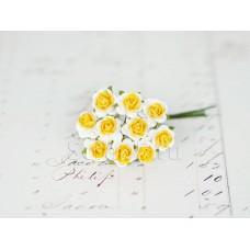 Розы 1 см, желтые с белым (10 шт)