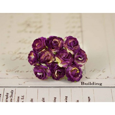 Розы 1,5 см, фиолетовые с желтым, 10 шт