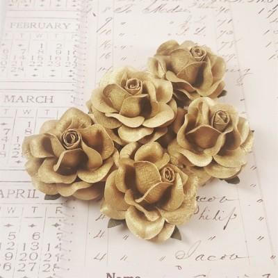 Розы 4 см, золотые (5 шт)