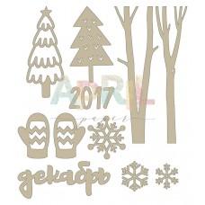Деревянный чипборд Снежная нежная