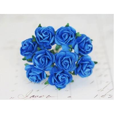 Розы 2 см, васильково-синие (10 шт)