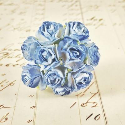 Розы 1,5 см, бело-синие (10 шт)