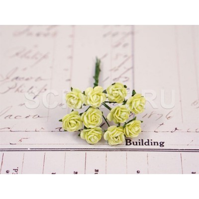 Розы 1 см, бледно-зеленые (10 шт)