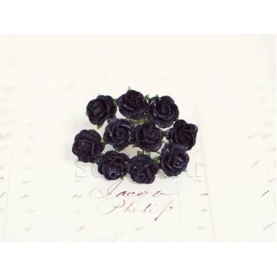 Розы 1 см, темно-синие (10 шт)