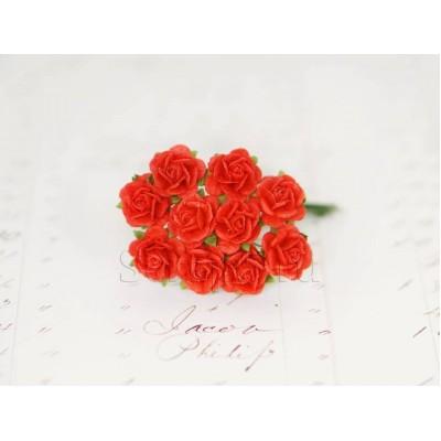 Розы 1 см, красные (10 шт)