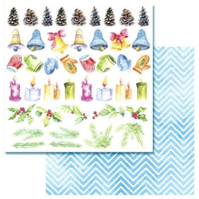 Бумага для скрапбукинга Акварельная зима - Картинки 30,5 х 30,5