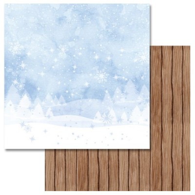 Бумага для скрапбукинга Акварельная зима - Вечер за окном 30,5 х 30,5