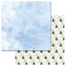 Бумага для скрапбукинга Акварельная зима - Рождественские свечи 30,5 х 30,5